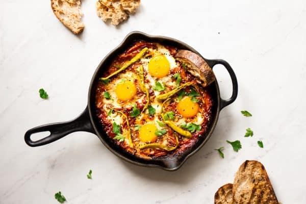 Three Pepper Shakshuka Eggs