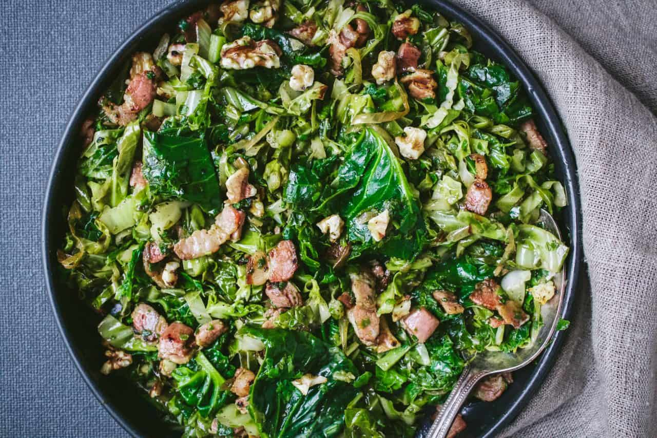 Sprout Tops & Cabbage with Bacon and Walnuts