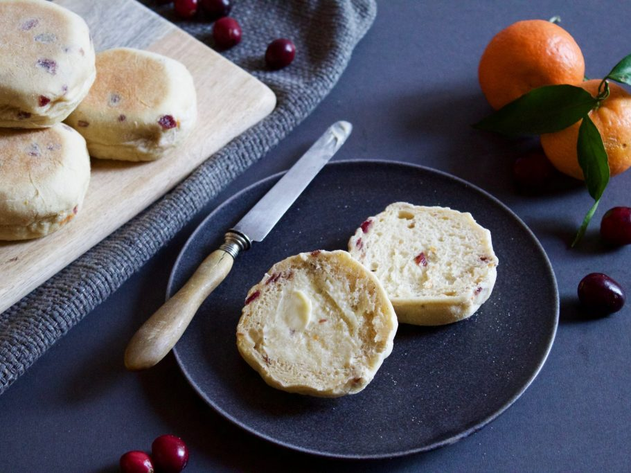Cranberry and Clementine English Muffins