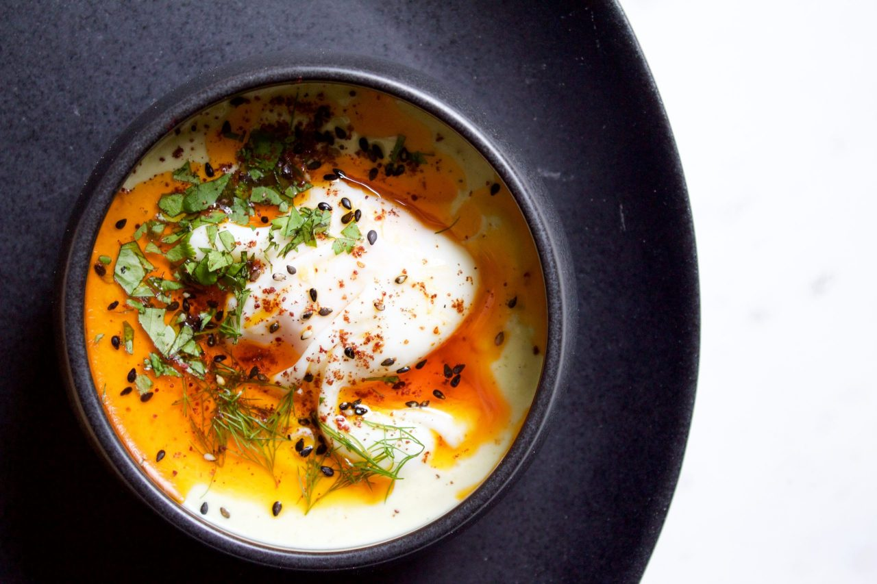 Pistachio Eggs Çilbir - Turkish Poached Eggs and Yoghurt