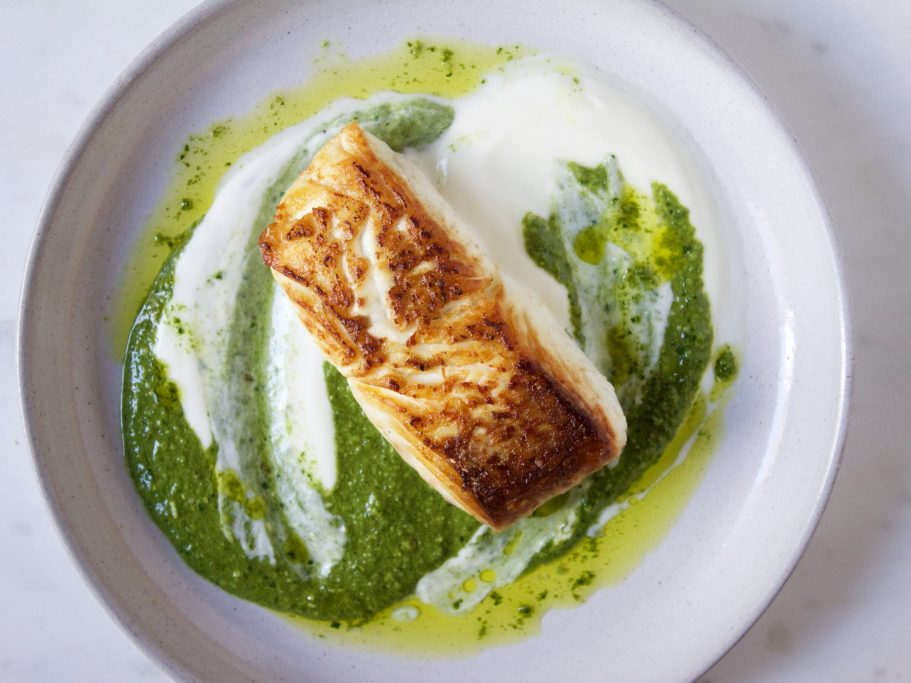 Seared Halibut and Nettle Pesto
