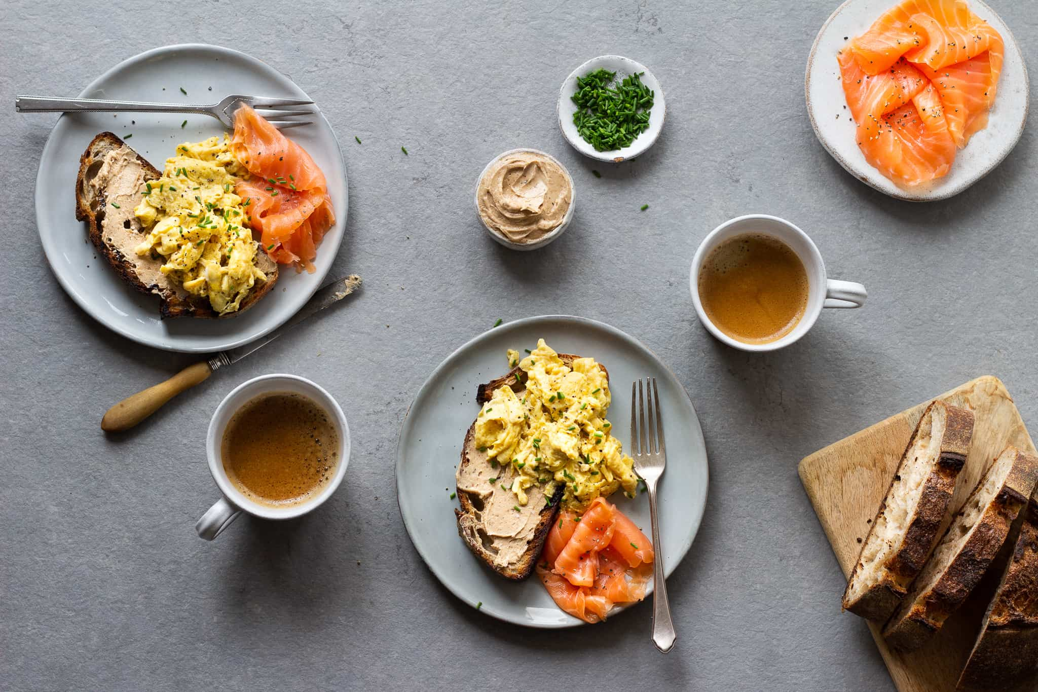 Smoked Salmon and Scrambled Eggs with Anchovy Butter