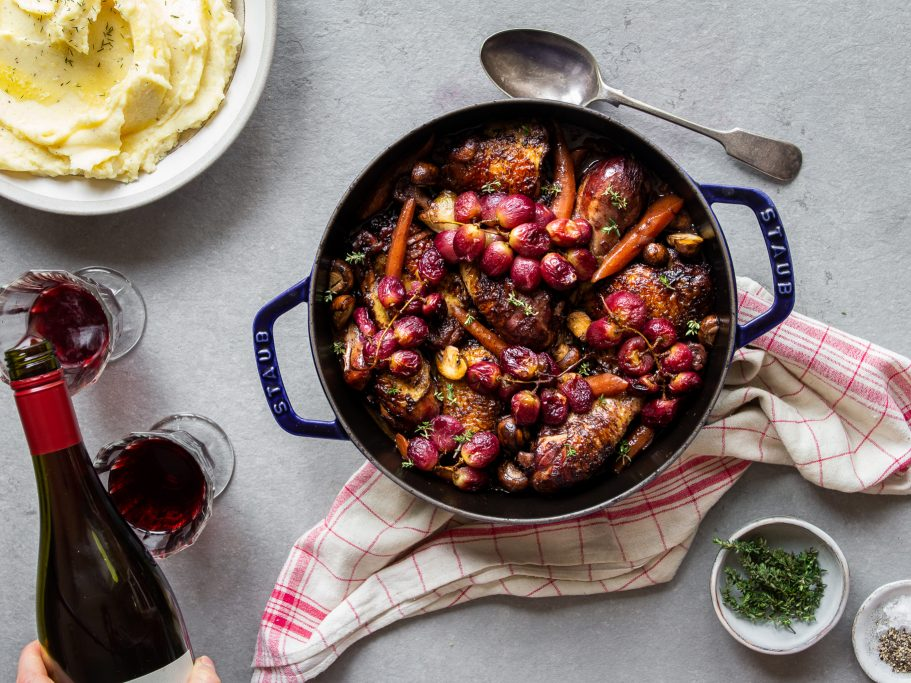 Coq au Vin with Roasted Grapes