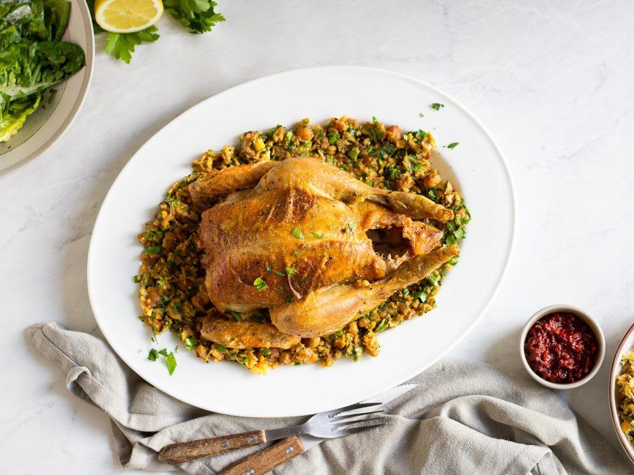 Cumin Roast Chicken with Chickpeas