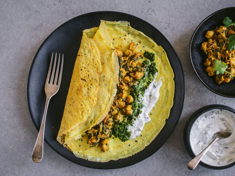 Chickpea Pancakes with Chickpea Curry