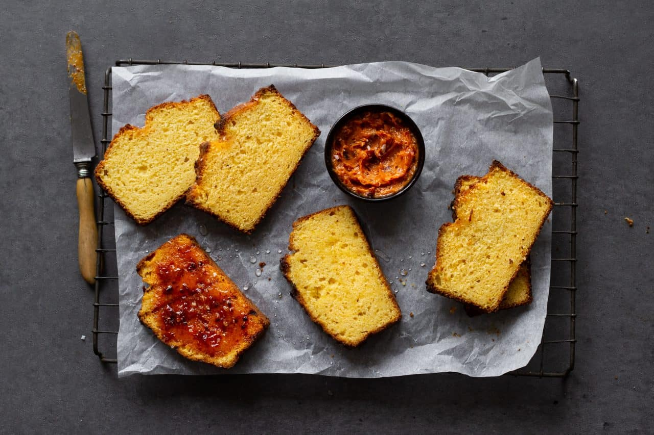Glazed Corn Bread and Chipotle Honey Butter
