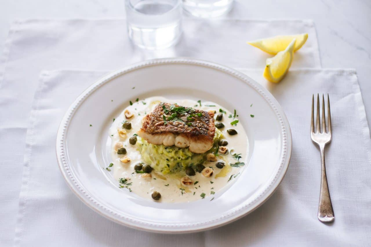 Seared Hake and Leeks with Hazelnuts