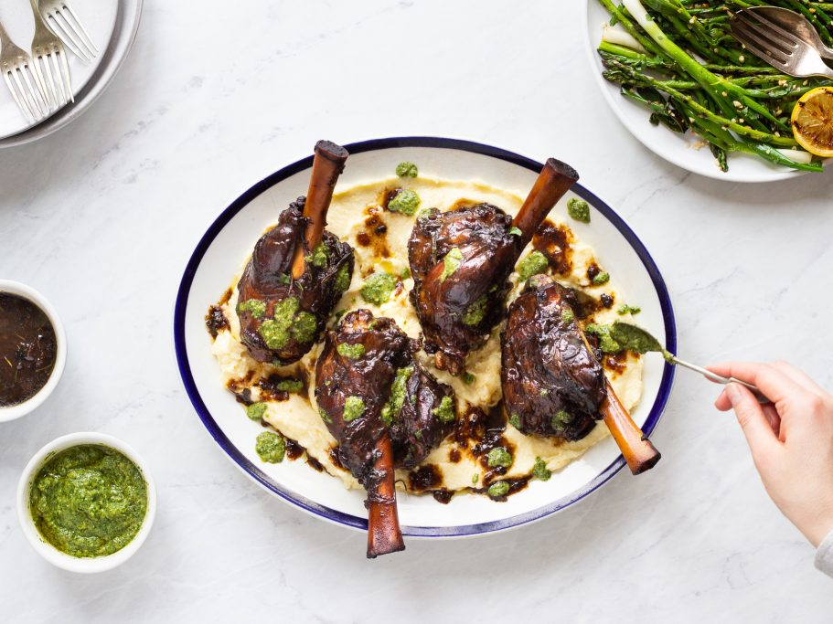 Lamb Shanks with Wild Garlic Salsa Verde