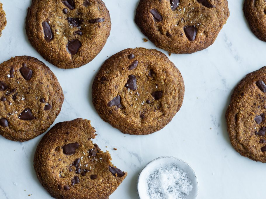 Healthyish Oat and Peanut Chocolate Chip Cookies