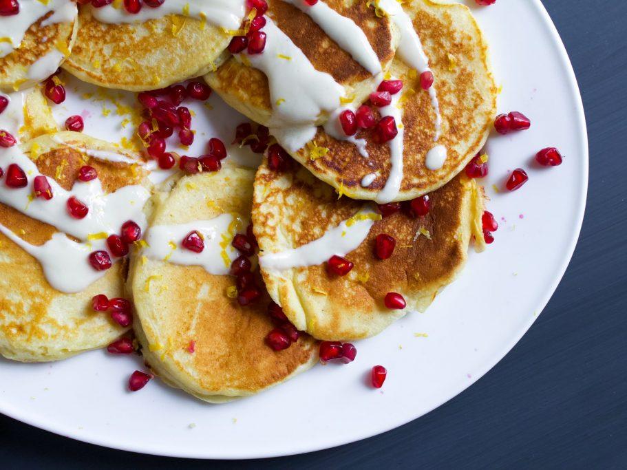 Ricotta Hotcakes with Tahini Yoghurt