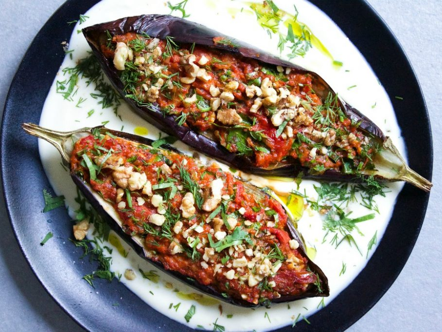 Smokey Roast Aubergine Filled Tomato and Red Pepper - Bayildi