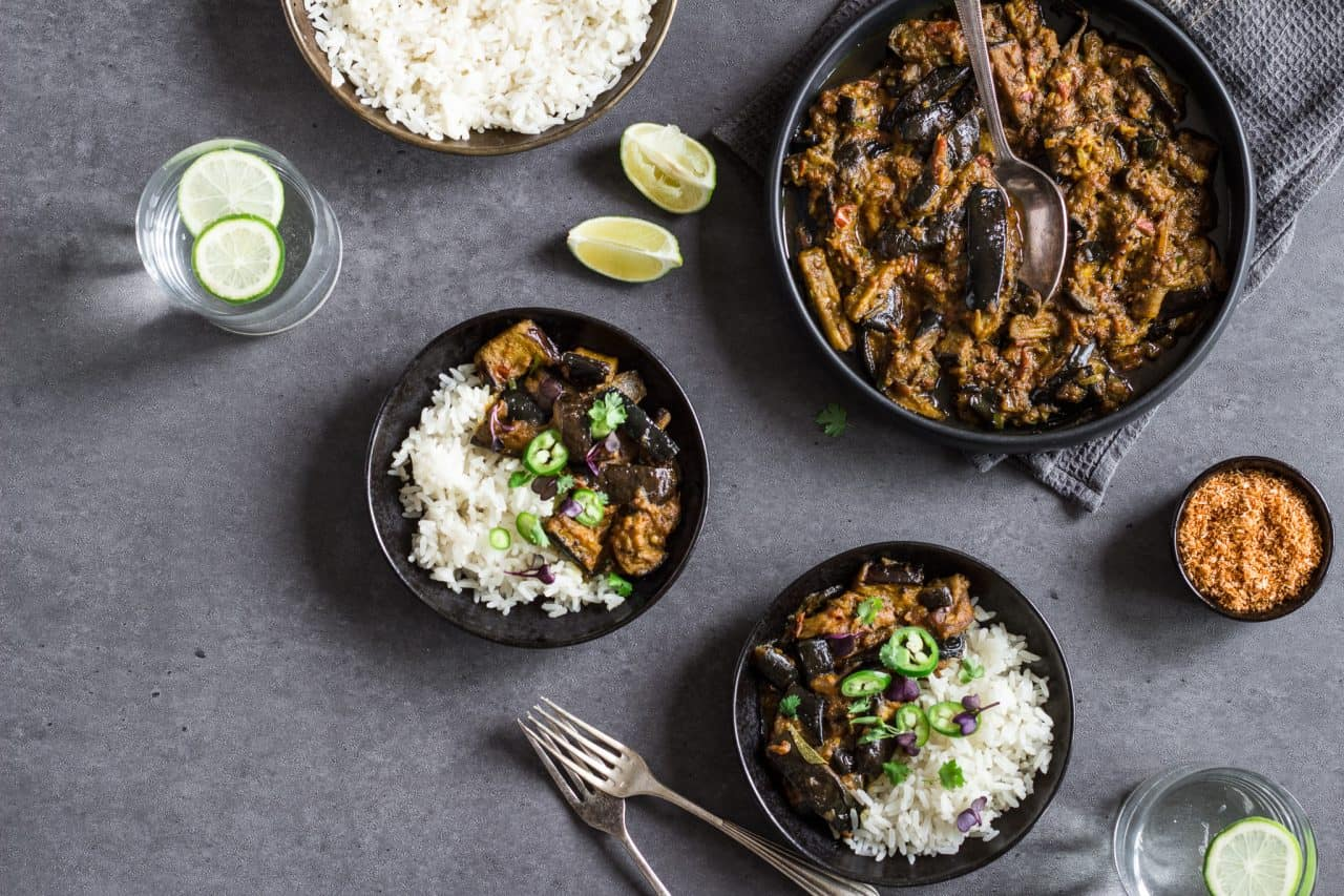 Sri Lankan Aubergine Curry - Vegan