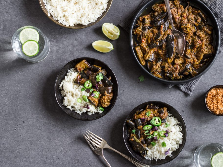 Sri Lankan Aubergine Curry - Vegan