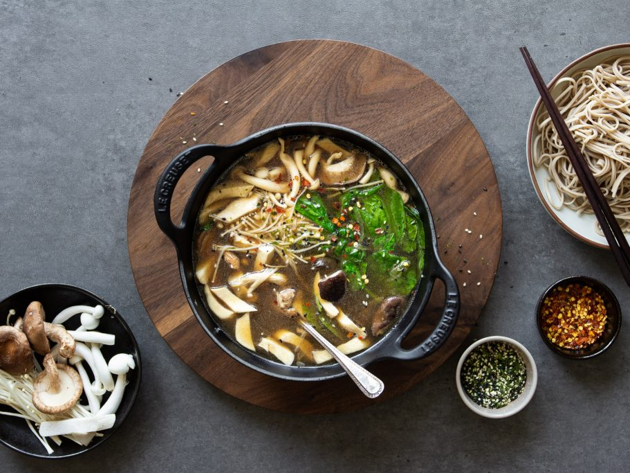 Vegan Miso Mushroom Noodle Hotpot