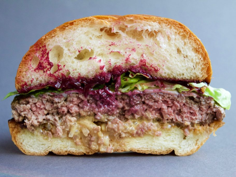 Venison Smash Burger with Blackberries