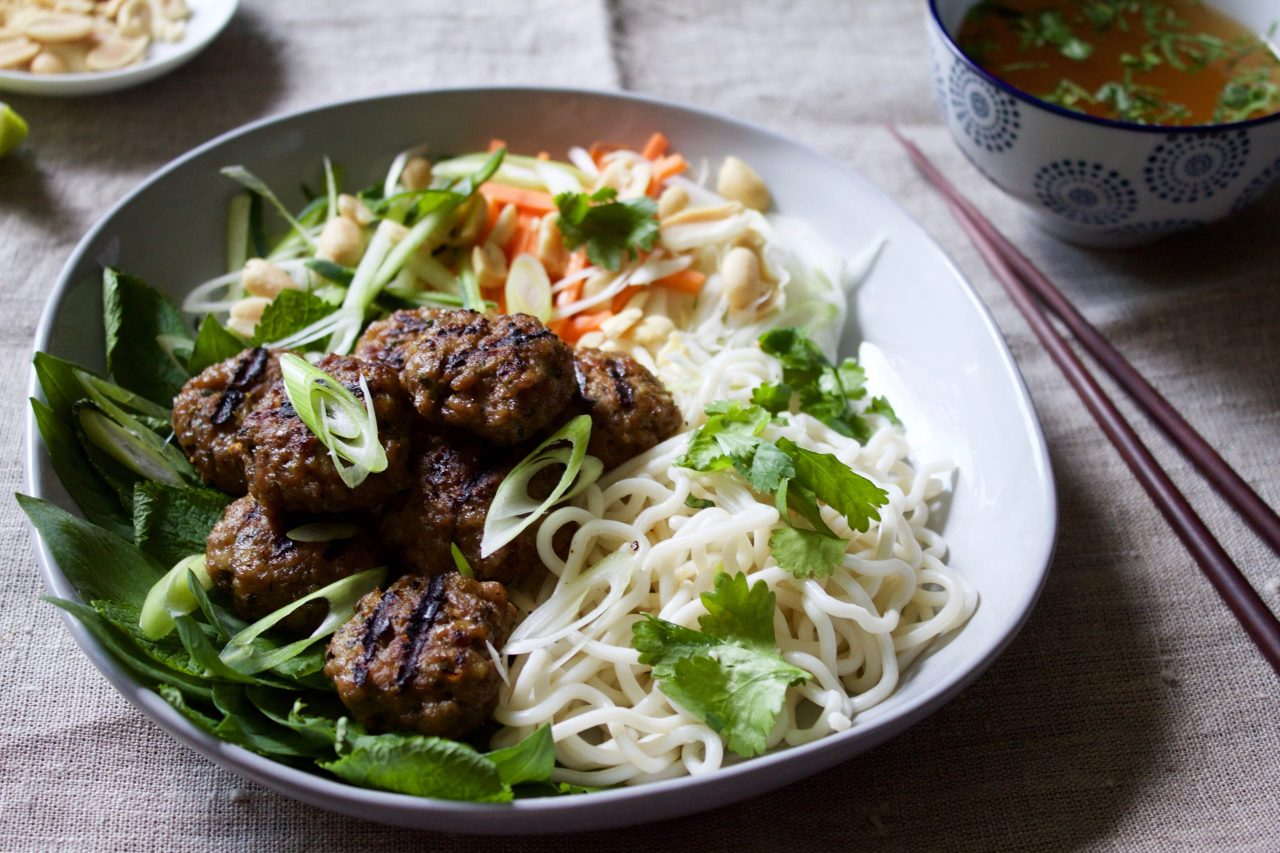 Vietnamese Bun Cha - Vietnamese Pork Meatballs and Noodles