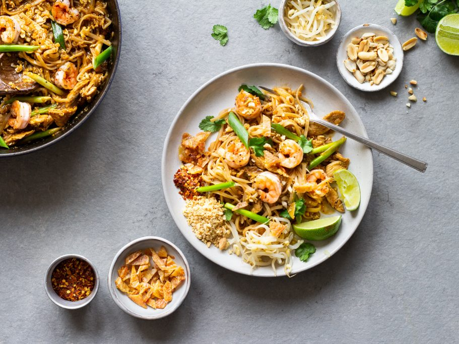 Chicken Pad Thai with Crispy Chicken Skin