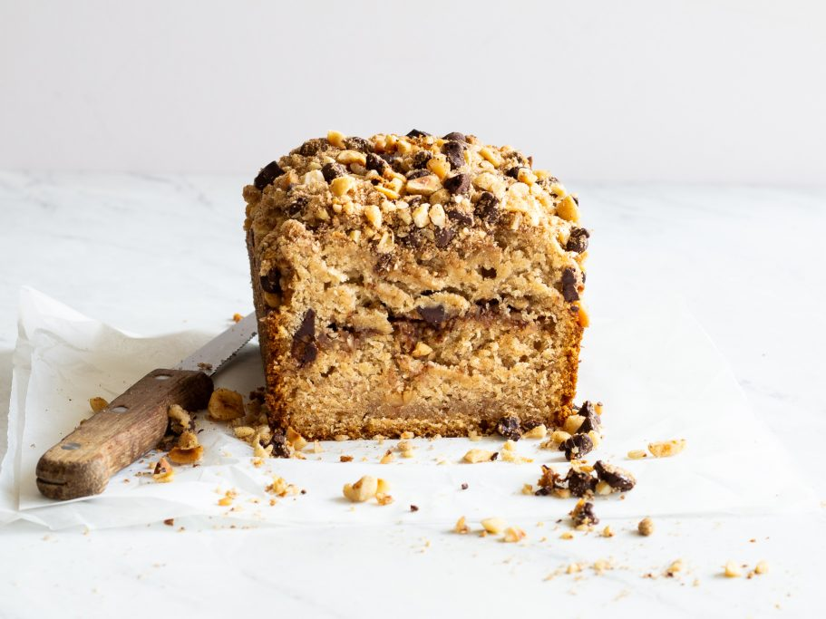 Banana Bread With Chocolate & Hazelnut Streusel
