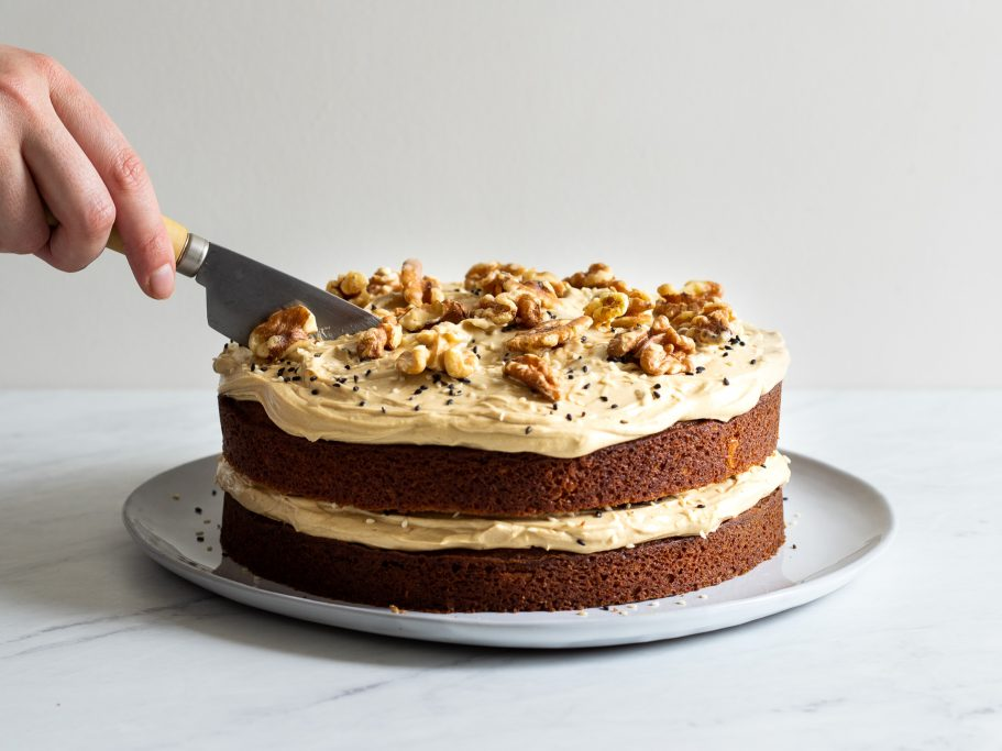 Coffee & Walnut Cake with Tahini Buttercream