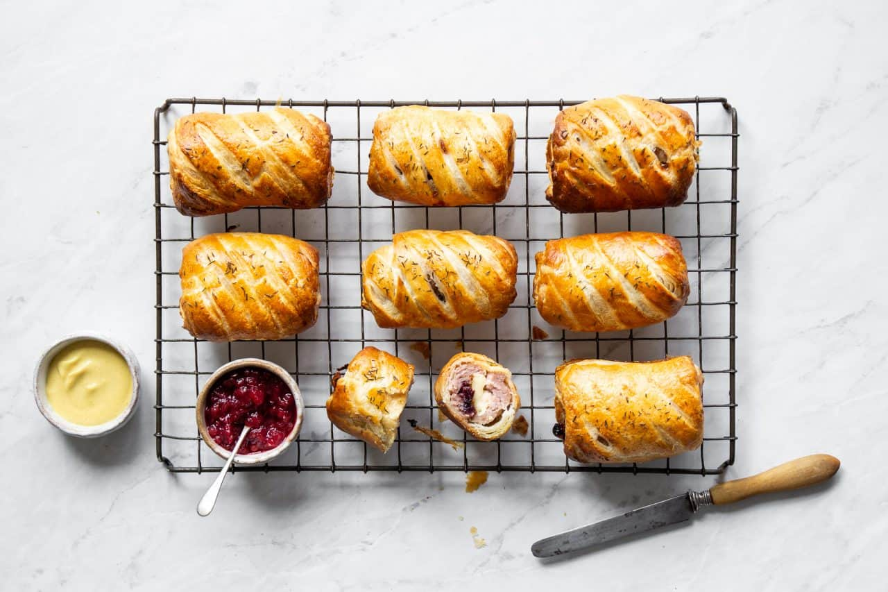 Brie and Cranberry Sausage Rolls