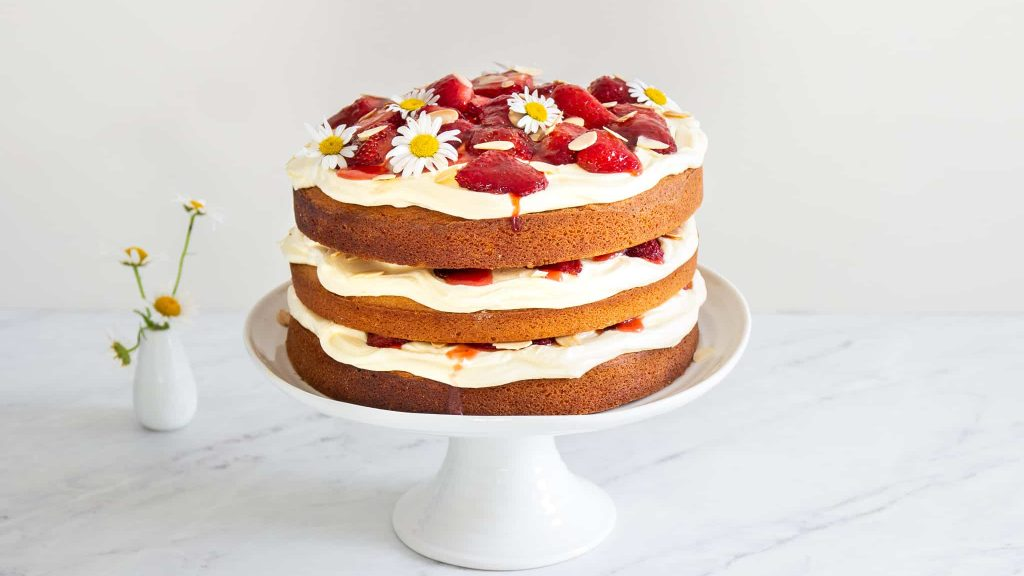 Victoria Sponge with Roast Strawberries