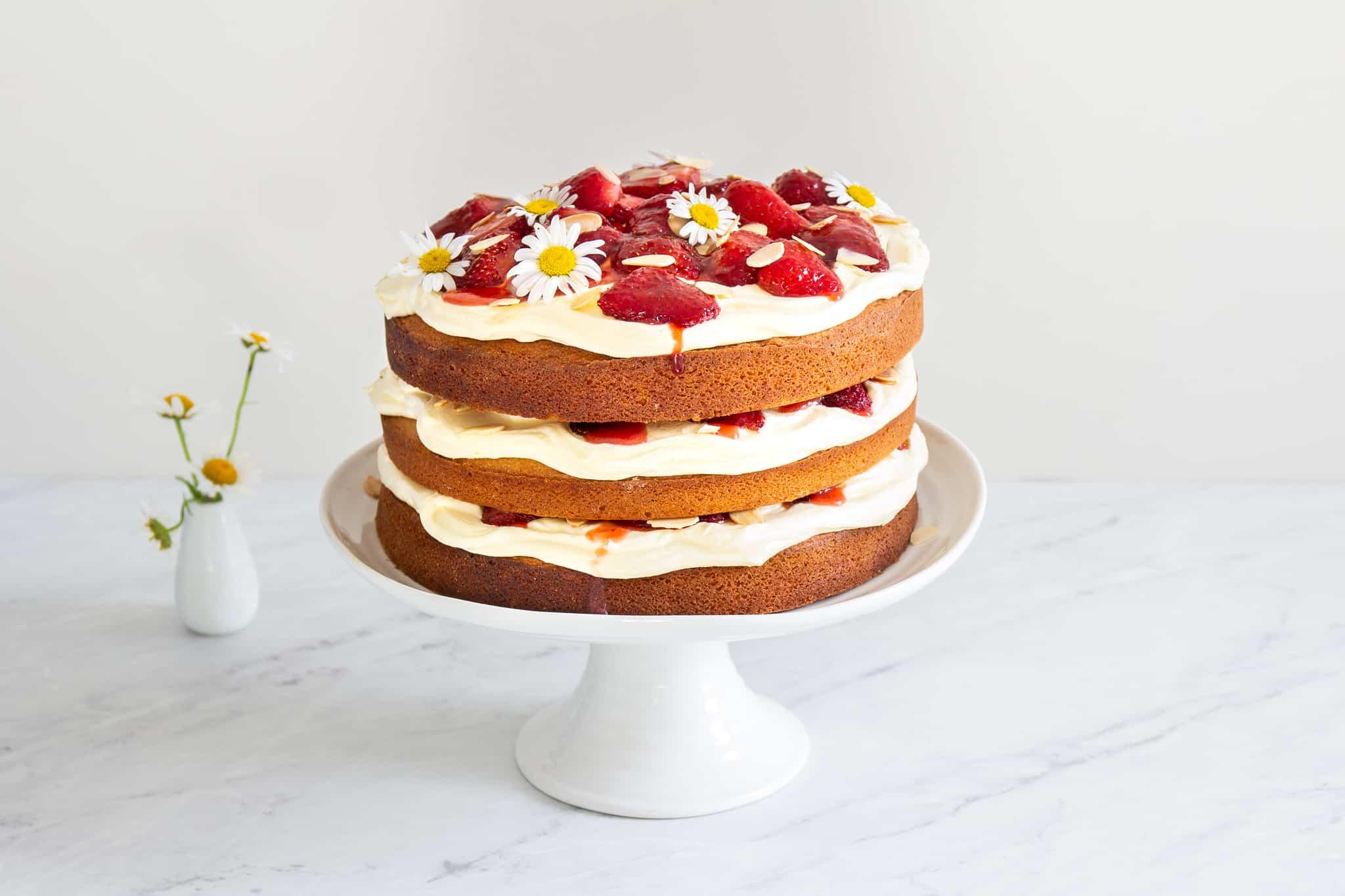 Victoria Sponge with Roast Strawberries
