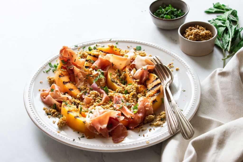 Melon & Parma Ham Salad with Oat Parmesan Crumb